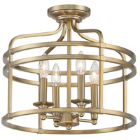 Minka-Lavery 1094-740 Covent Park 4 Light 16 inch Brushed Honey Gold Semi Flush Ceiling Light