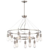 Downtown Edison 15 Light 32 inch Brushed Nickel Chandelier Ceiling Light