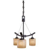 Minka-Lavery 1185-357 Raiden 3 Light 17 inch Iron Oxide Mini Chandelier Ceiling Light