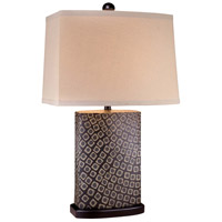 Signature 29 inch 150 watt Black And Beige Oak Table Lamp Portable Light