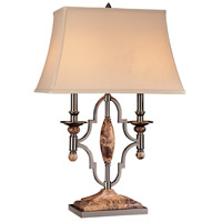Minka-Lavery Signature 2 Light Table Lamp in Flemish Pewter and Rust Marble 12216-0