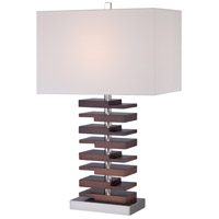 Signature 28 inch 100 watt Walnut Table Lamp Portable Light