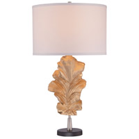 Signature 31 inch 100 watt Gold Leaf Table Lamp Portable Light