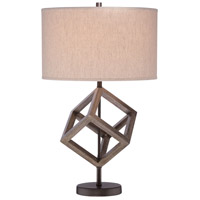 Signature 25 inch 100 watt Walnut Table Lamp Portable Light