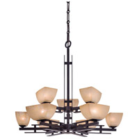 Lineage 9 Light 33 inch Iron Oxide Chandelier Ceiling Light