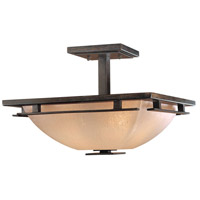 Lineage 2 Light 16 inch Iron Oxide Semi Flush Mount Ceiling Light
