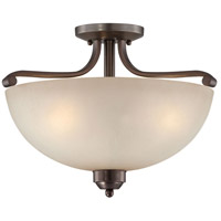 Paradox 3 Light 17 inch Harvard Court Bronze Plated Semi Flush Mount Ceiling Light