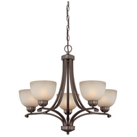 Paradox 5 Light 27 inch Harvard Court Bronze Plated Chandelier Ceiling Light