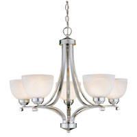 Paradox 5 Light 27 inch Brushed Nickel Chandelier Ceiling Light in GU24