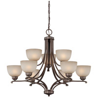 Paradox 9 Light 34 inch Harvard Court Bronze Plated Chandelier Ceiling Light