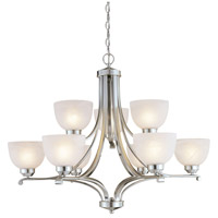 Paradox 9 Light Brushed Nickel Chandelier Ceiling Light
