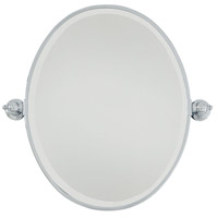 Signature 25 X 20 inch Chrome Wall Mirror Home Decor, Oval, Beveled