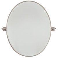 Signature 25 X 20 inch Brushed Nickel Wall Mirror Home Decor, Oval, Beveled