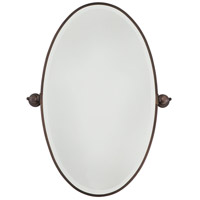 Signature 36 X 22 inch Dark Brushed Bronze Plated Wall Mirror Home Decor, Oval, Beveled