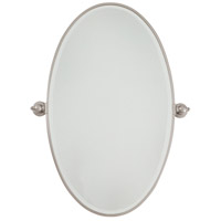 Signature 36 X 22 inch Brushed Nickel Wall Mirror Home Decor, Oval, Beveled