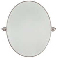 Signature 32 X 26 inch Brushed Nickel Wall Mirror Home Decor, Oval, Beveled