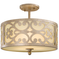Nanti 3 Light 14 inch Nanti Champaign Silver Semi Flush Mount Ceiling Light