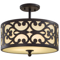 Minka-Lavery 1498-357 Nanti 3 Light 14 inch Iron Oxide Semi-Flush Mount Ceiling Light