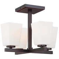 City Square 4 Light 14 inch Lathan Bronze Semi-flush Ceiling Light