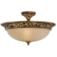 Salon Grand 3 Light 23 inch Florence Patina Semi Flush Mount Ceiling Light
