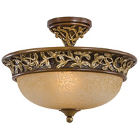 Salon Grand 3 Light 15 inch Florence Patina Semi Flush Mount Ceiling Light