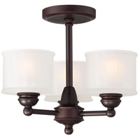 1730 Series 3 Light 16 inch Lathan Bronze Semi Flush Mount Ceiling Light