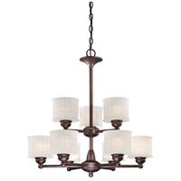 1730 Series 9 Light 27 inch Lathan Bronze Chandelier Ceiling Light