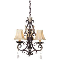Minka-Lavery Bellasera 3 Light Mini Chandelier in Castlewood Walnut w/Silver Highlights 1773-301