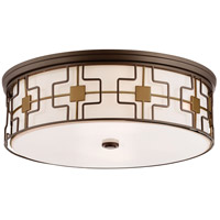 Signature 5 Light 20 inch Dark Brushed Bronze with Aged Brass Flush Mount Ceiling Light