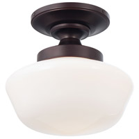 Signature 1 Light 12 inch Brushed Bronze Semi Flush Mount Ceiling Light