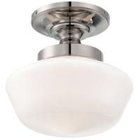 Signature 1 Light 12 inch Polished Nickel Semi Flush Mount Ceiling Light