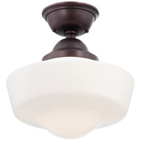Signature 1 Light 14 inch Brushed Bronze Semi Flush Mount Ceiling Light