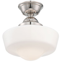 Signature 1 Light 14 inch Polished Nickel Semi Flush Mount Ceiling Light