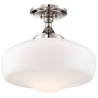 Signature 1 Light 17 inch Polished Nickel Semi Flush Mount Ceiling Light