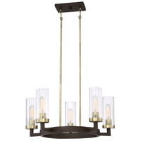 Ainsley Court 5 Light 25 inch Aged Kingston Bronze with Brushed Brass Highlights Chandelier Ceiling Light