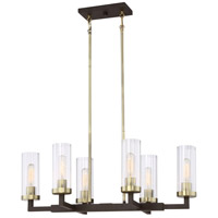 Ainsley Court 6 Light 31 inch Aged Kingston Bronze with Brushed Brass Highlights Island Light Ceiling Light