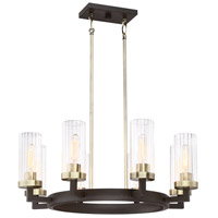 Ainsley Court 8 Light 27 inch Aged Kinston Bronze with Brushed Brass Pendant Ceiling Light