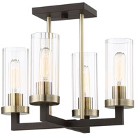 Minka-Lavery 3049-560 Ainsley Court 4 Light 16 inch Aged Kinston Bronze with Brushed Brass Semi-Flush Mount Ceiling Light
