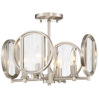 Via Capri 4 Light 15 inch Brushed Nickel Semi-Flush Mount Ceiling Light