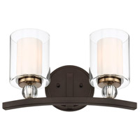 Minka-Lavery 3072-416 Studio 5 2 Light 16 inch Painted Bronze/Natural Brush Bath Light Wall Light
