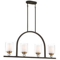 Minka-Lavery 3074-416 Studio 5 4 Light 38 inch Painted Bronze with Natural Brushed Brass Island Light Ceiling Light