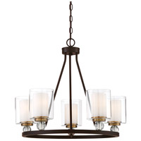Studio 5 5 Light 26 inch Painted Bronze with Natural Brush Chandelier Ceiling Light