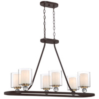 Minka-Lavery 3076-416 Studio 5 5 Light 38 inch Painted Bronze/Natural Brush Island Light Ceiling Light