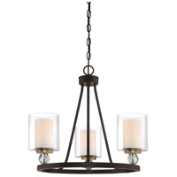 Studio 5 3 Light 22 inch Painted Bronze with Natural Brushed Brass Mini Chandelier Ceiling Light