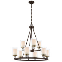Studio 5 9 Light 32 inch Painted Bronze with Natural Brushed Brass  Chandelier Ceiling Light