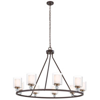 Studio 5 9 Light 45 inch Painted Bronze with Natural Brush Chandelier Ceiling Light