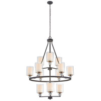 Studio 5 12 Light 32 inch Painted Bronze with Natural Brush Chandelier Ceiling Light