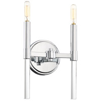 Pillar 2 Light 8 inch Chrome Wall Sconce Wall Light