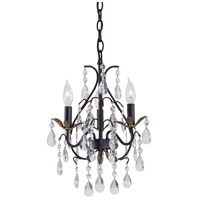 Signature 3 Light 13 inch Castlewood Walnut/Silver Mini Chandelier Ceiling Light