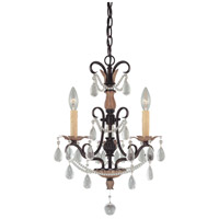 Signature 3 Light 16 inch Distressed Bronze Mini Chandelier Ceiling Light